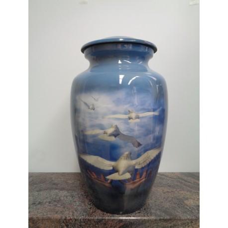 Urne avec image imprimée-Colombes au vol