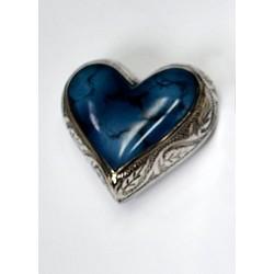 Urne souvenir en forme de coeur couleur bleu de feu avec nickel
