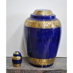 Urne avec couvert en dôme doré  avec urne souvenir