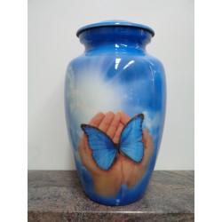 Urne avec image imprimée-Mains et papillon