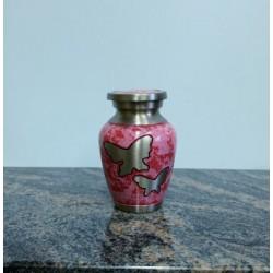 Urne souvenir en laiton gravures de papillons fini rose