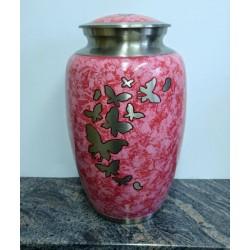 Urne en laiton avec dessin de papillon fini rose