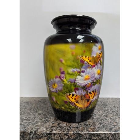 Urne avec image imprimée-Fleurs & papillons