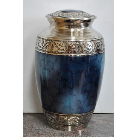 Urne couleur bleu marble  (Bleu de Feu) avec nickel