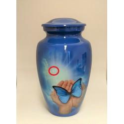 Urne avec image imprimée - Mains et papillon1